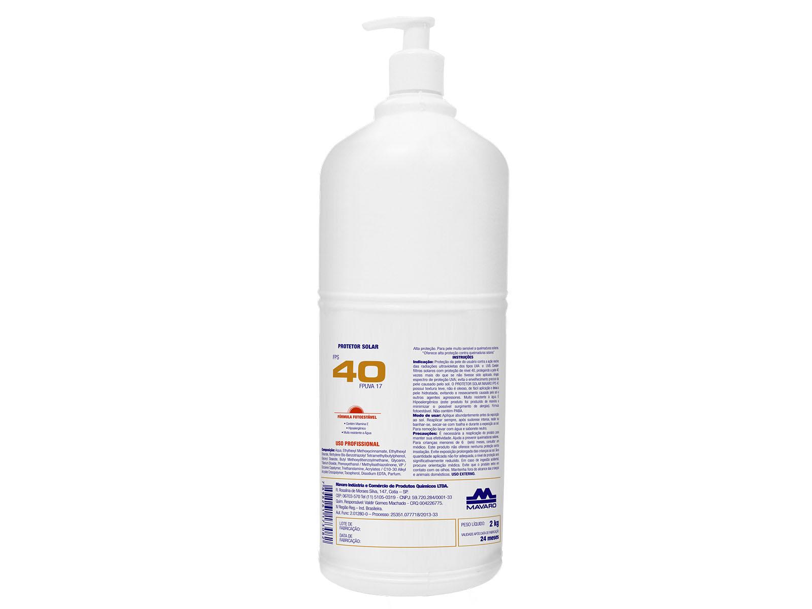 Protetor Solar Profissional FPS 40 eficaz contra a ação nociva das radiações UVA e UVB.