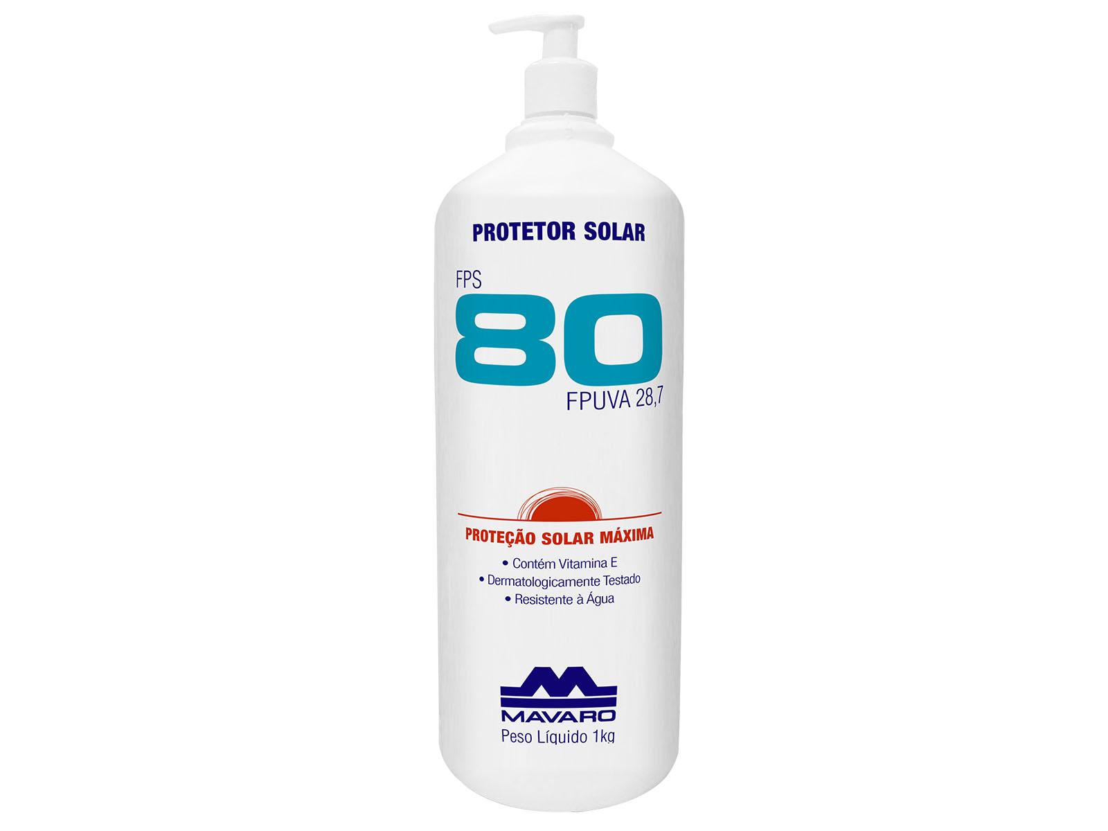 Protetor Solar FPS 80 eficaz contra a ação nociva das radiações UVA e UVB.