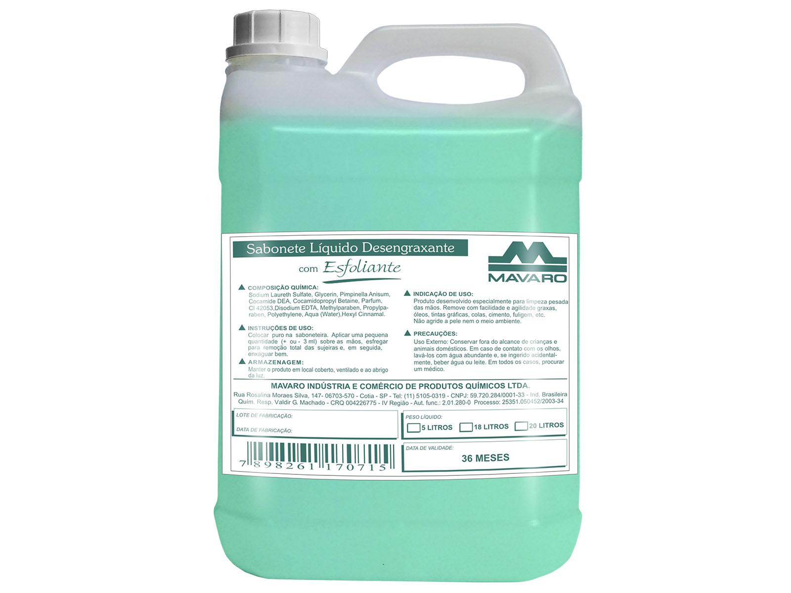 Sabonete líquido desengraxante com esfoliante.