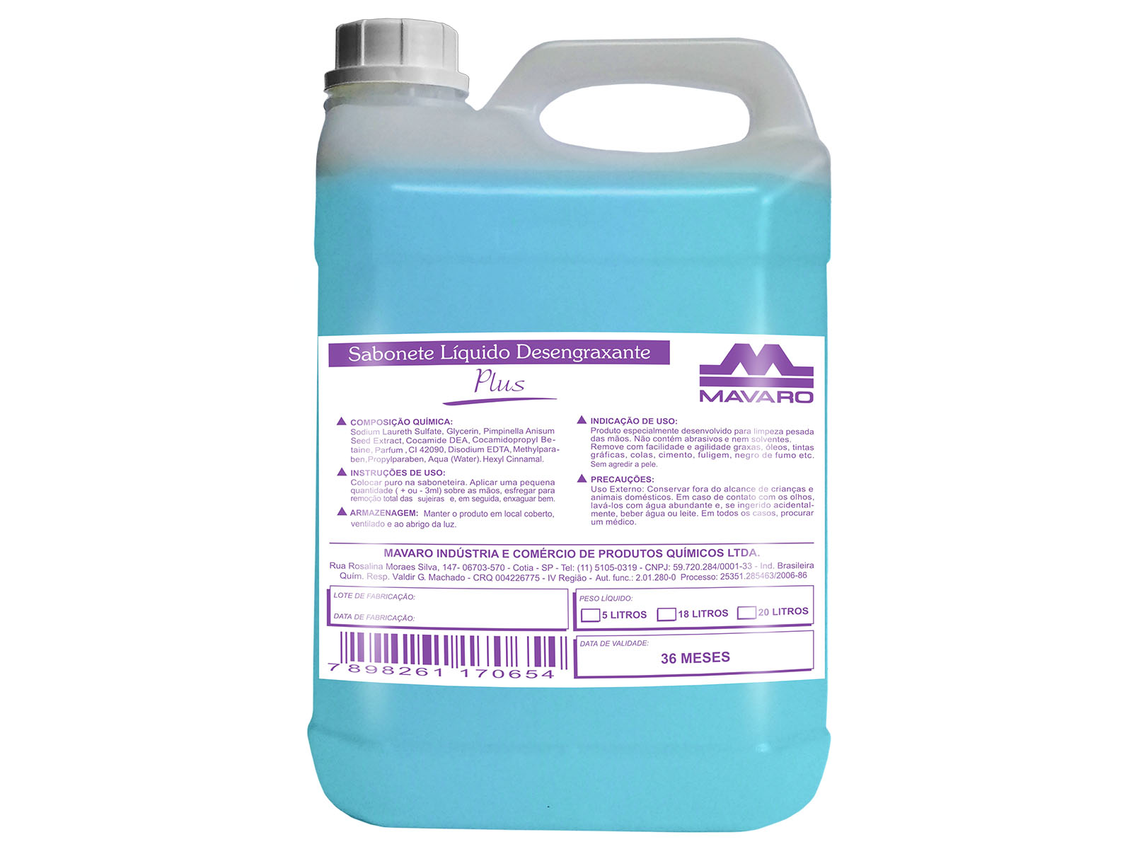 Sabonete líquido desengraxante plus.